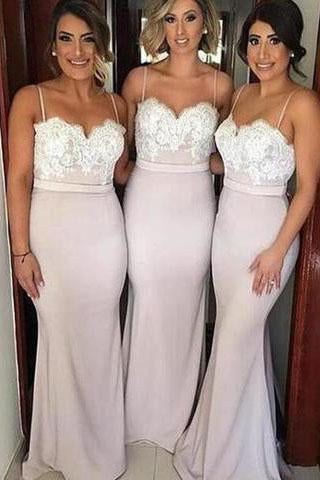 Lace Mermaid Backless Unique Sweetheart Spaghetti Straps Cheap Bridesmaid Dresses SME43