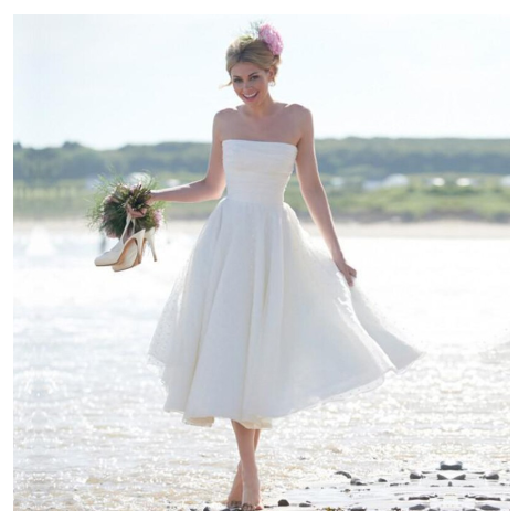 A-Line Ivory Short Sleeveless Pleated Tea-length Strapless Backless Wedding Dresses UK SME372