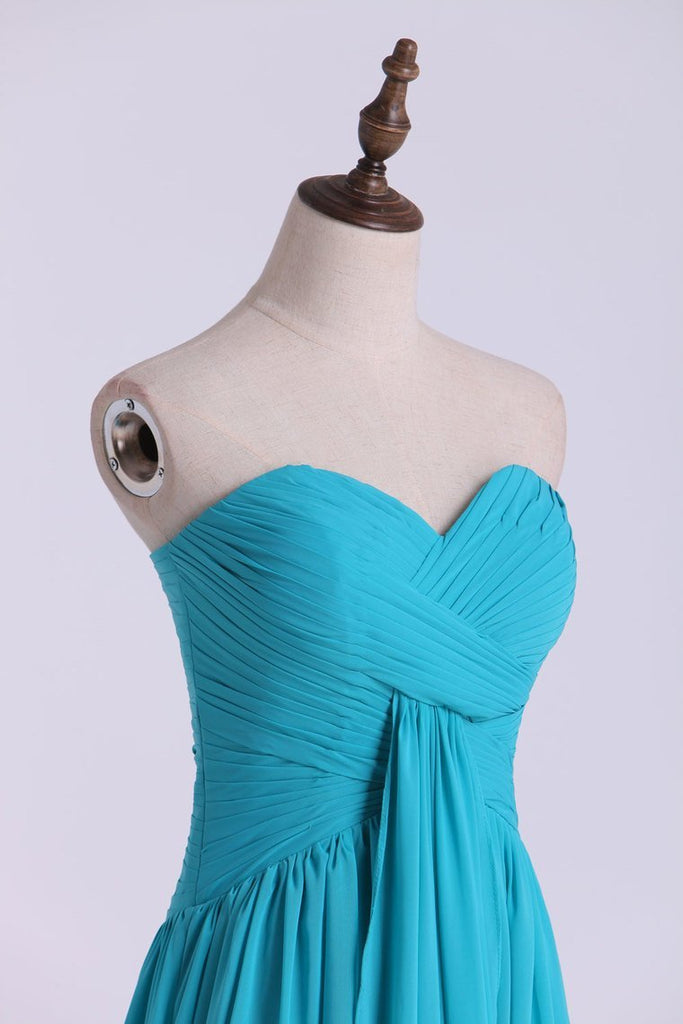 Prom Dresses A Line Floor Length Sweetheart Chiffon With Ruffles