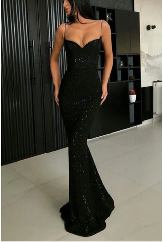 Sparkle Black Mermaid V-neck Spaghetti Strapes Sequins Long Prom Dresses