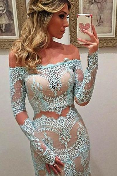 Light blue lace off-shoulder long sleeves see-through long prom dresses evening dress