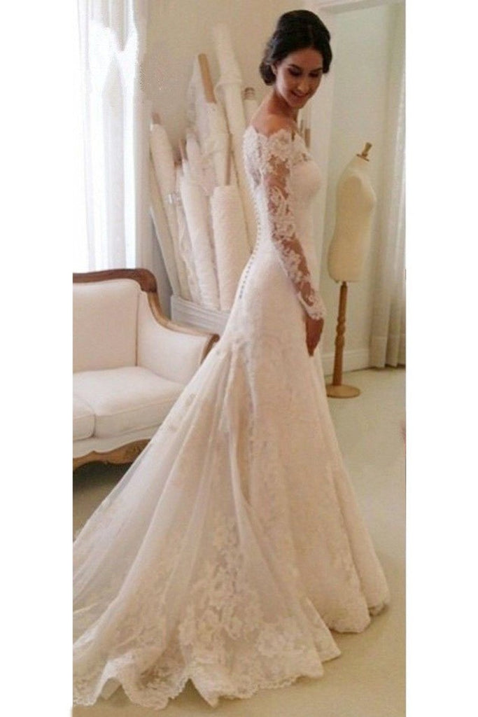 2021 Boat Neck Mermaid Tulle With Applique Wedding Dresses Court