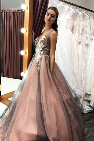 A Line V Neck Sleeveless Tulle Party Dress With Flowers, Gorgeous Prom Dress With