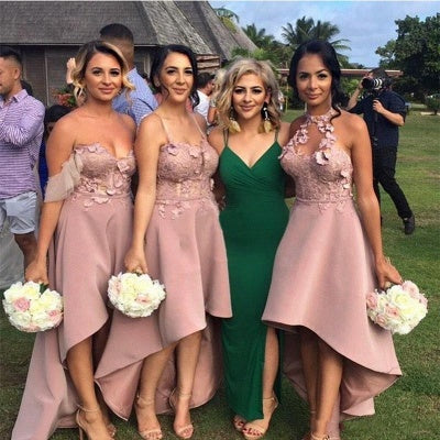 Classic A Line High Low With Appliques Pink Bridesmaid Dresses