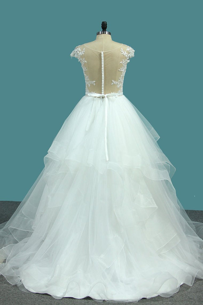 2020 Bateau A Line Tulle Wedding Dresses With Applique And