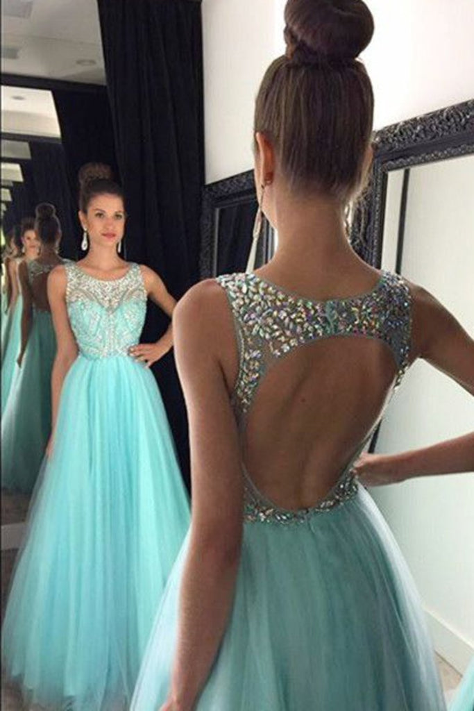 Prom Dresses A Line Scoop Beaded Bodice Tulle Open Back Floor