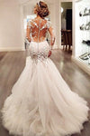 Long Sleeves Court Train Ivory V-Neck Mermaid Tulle Wedding Dress With Lace Appliques JS64