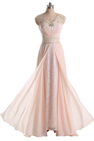 Long Prom Dresses Jewel Chiffon and Lace Bridesmaid Party Dresses
