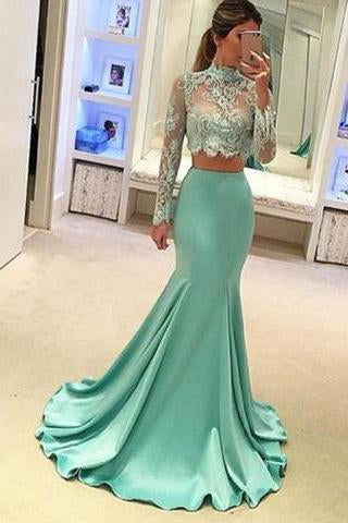 Pretty Two Pieces High Neck Long Sleeve Lace Prom Dress Sexy Mermaid Prom Dresses JS682