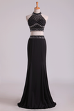 2020 Black Halter Two-Piece Beaded Bodice Mermaid Open Back Prom Dresses Spandex & Tulle Floor Length