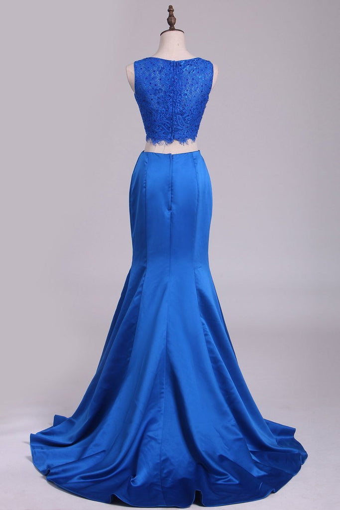 Two Pieces Mermaid Bateau Prom Dresses With Beading Satin &