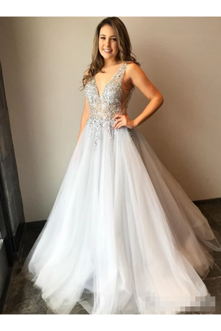 Tulle V Neck Ball Gown With Re-Embroidered Lace Appliques Prom/Wedding