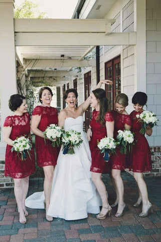 A Line Burgundy Lace Cap Sleeve Bridesmaid Dresses, Knee Length Short Wedding Party Dresses SME14995