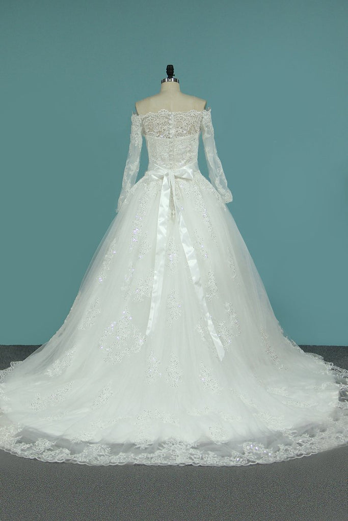 2021 Boat Neck A-Line Wedding Dresses Court Train Tulle With