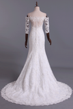 2020 Hot Mermaid Wedding Dresses 3/4 Length Sleeves Court Train With Applique New