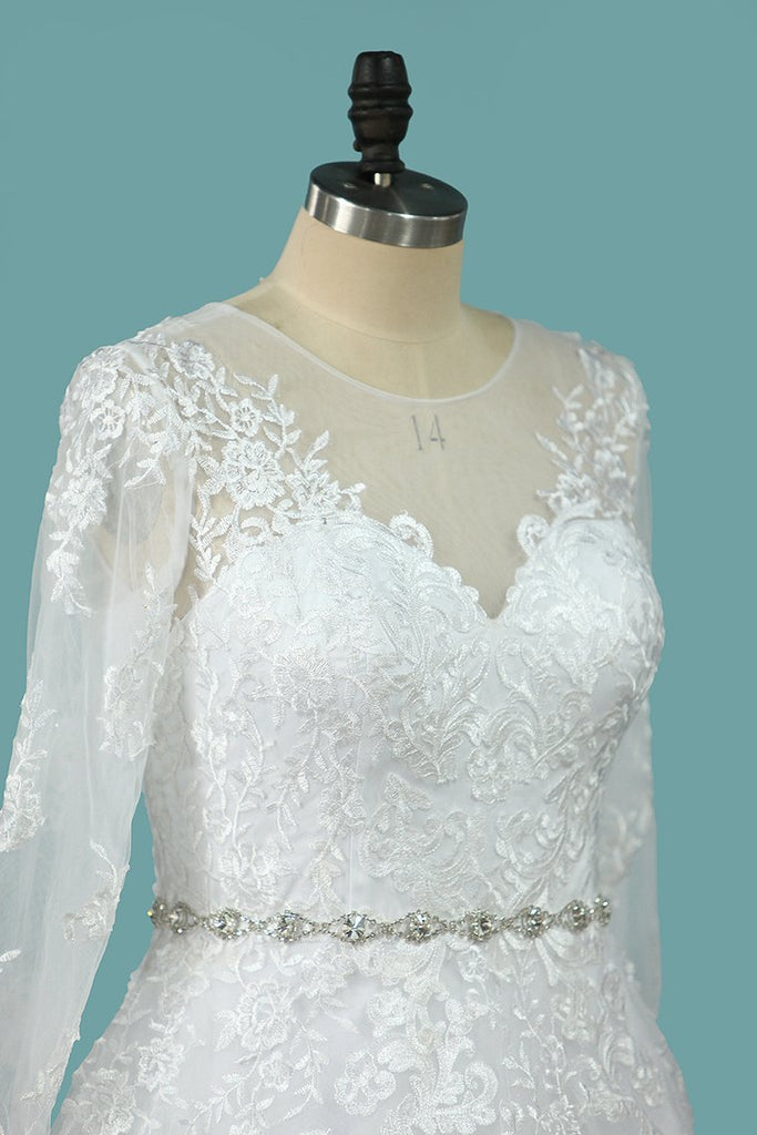 Wedding Dresses Scoop A Line With Beaded Belt Tulle With Appliques Sweep