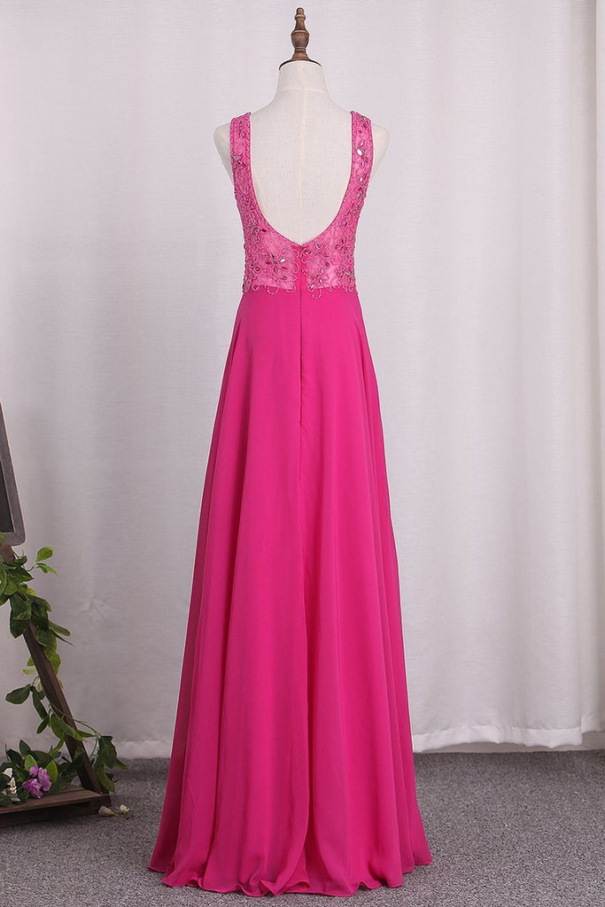 2020 A Line V Neck Chiffon Prom Dresses Beaded Bodice Open