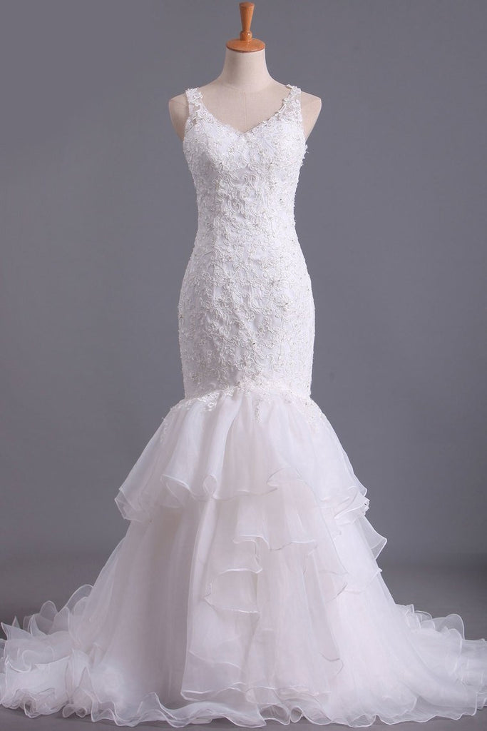 V Neck Wedding Dresses Organza With Applique & Ruffles Mermaid Court