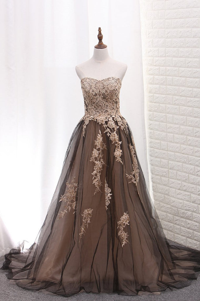 2019 Tulle Prom Dresses A Line Sweetheart With Applique