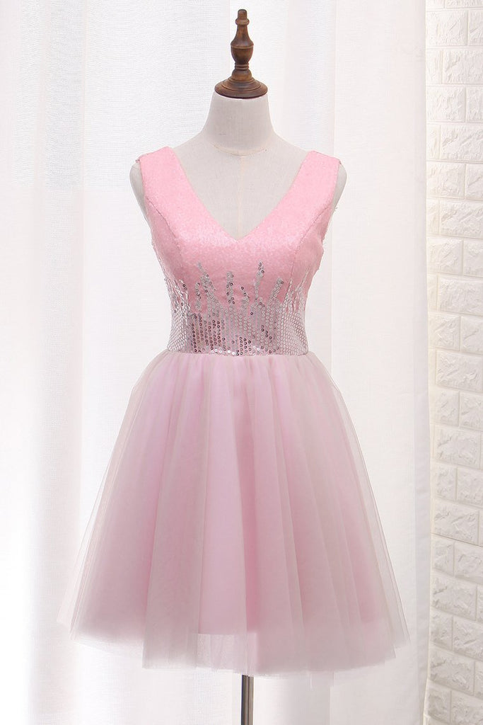 V Neck Tulle A Line Homecoming Dresses Sequined Bodice