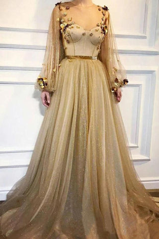 Elegant 3D Flowers Long Sleeve Prom Dresses Golden Rhinestone Evening Dresses SME15143