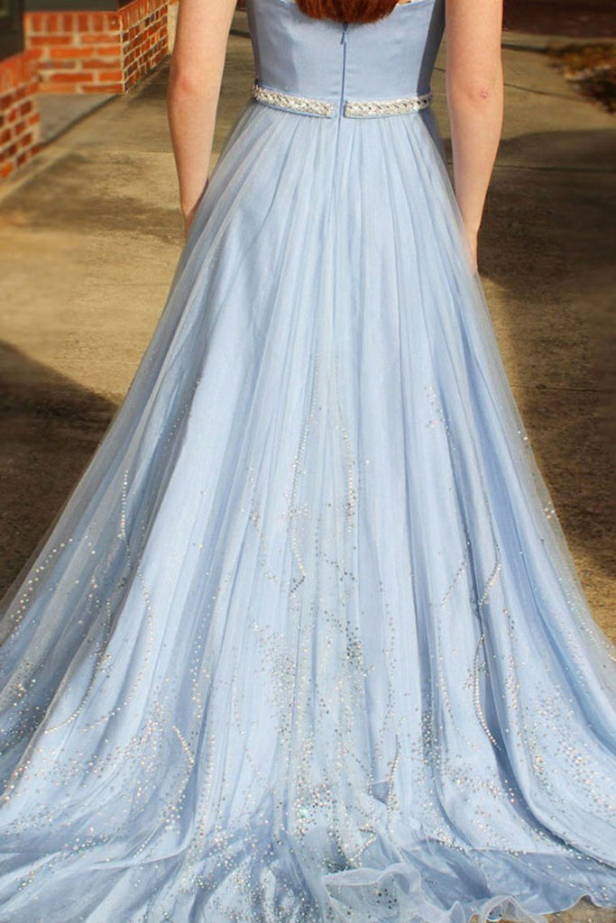 Newest Long Sky Blue Strapless Elegant Prom Dresses Cute
