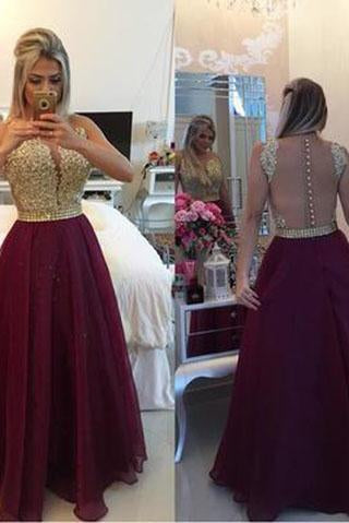 See Through Lace Cheap Unique Burgundy Sleeveless Beads A-Line V-Neck Prom Dresses JS972