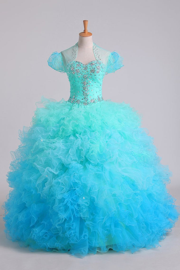 Quinceanera Dresses Ball Gown Floor Length With Beads And