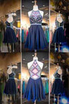 Navy Chiffon Halter Neck Beaded Sequins Crystals Cheap Homecoming Gowns with Illusion Back JS922