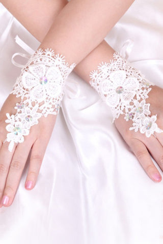 Lace Wrist Length Bridal Gloves Ivory #BG02