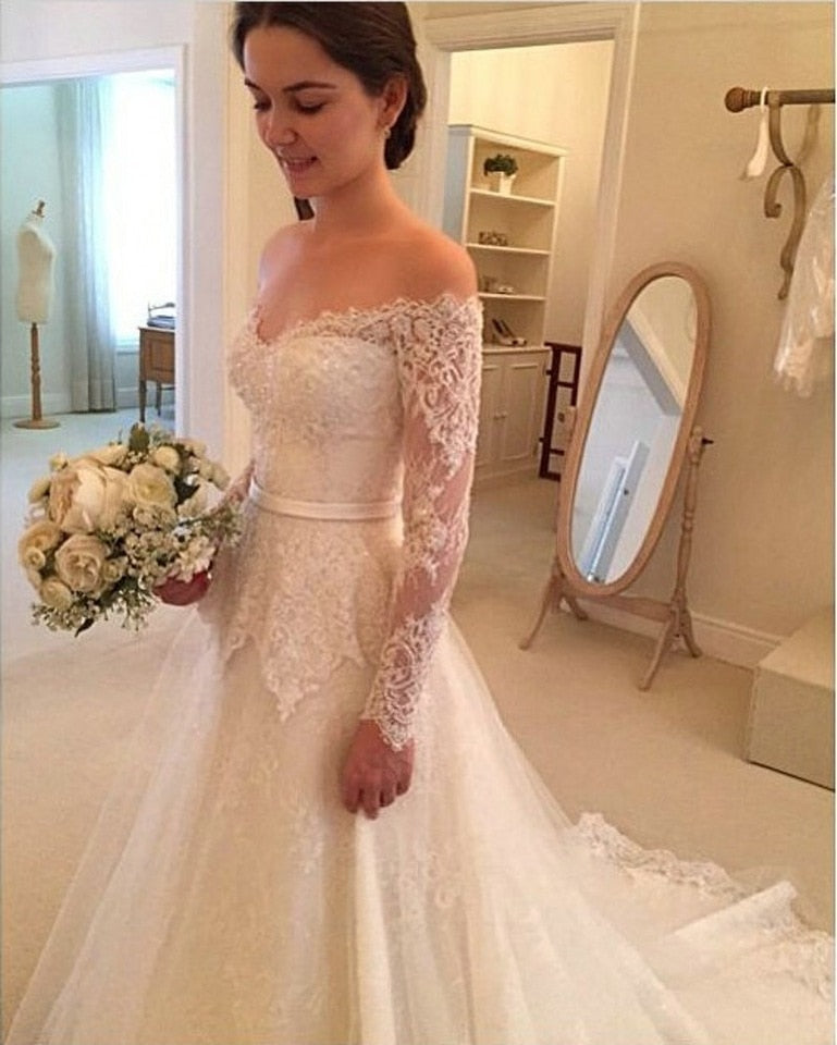 2019 Wedding Dresses A Line Long Sleeves Tulle With Applique And