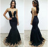 Sexy Black Lace Long Sleeves Long Mermaid Prom Dresses Evening Dresses JS499