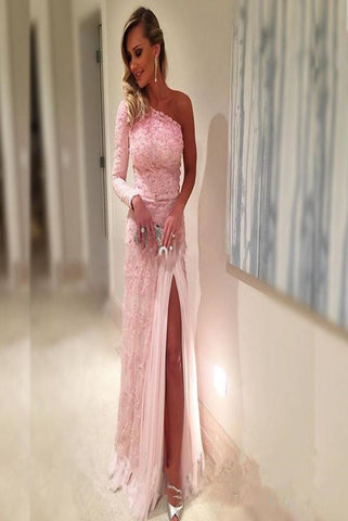 New Prom Dresses Lace One Shoulder Long Evening Dress JS110099