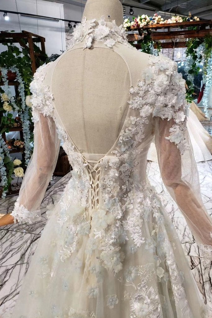 Princess Tulle High Neck Long Sleeve Handmade Flowers Lace up Prom Dresses JS795