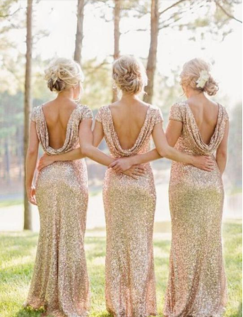 Sequin Short Sleeve Cap Sleeve Mermaid Backless Gold Long Cheap Bridesmaid Dresses JS52