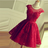 Red Lace Short Modest Appliques Sleeveless Open Back Pretty Homecoming Dresses JS246