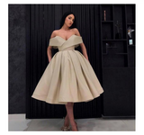 Unique Off the Shoulder Gold V Neck Ball Gown Satin Short Prom Dresses with Pockets H1230