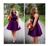 Purple Short Halter Neck Backless Beads Tulle Juniors Mini Sweet 16 Homecoming Dress JS433