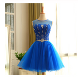 Royal Blue Short Beading Open Back Homecoming Dress JS431