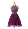 Short Prom Dresses Tulle Prom Gown Purple Homecoming Dress Sexy Prom Dress JS394