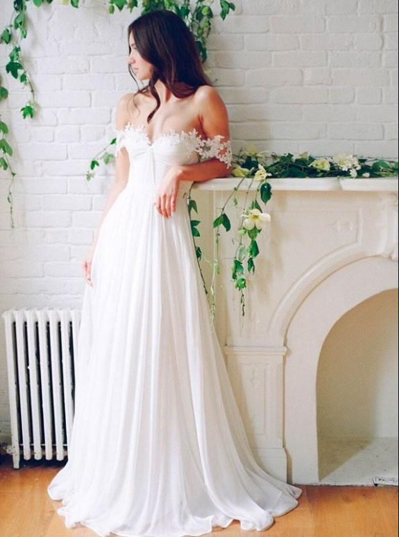 A Line Chiffon Sweetheart Lace Off the Shoulder Beach Wedding Dresses with Pleats JS276
