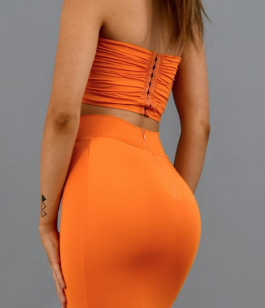 Orange Sweetheart Two Pieces Mermaid Sexy Long Bridesmaid Dresses Prom Dresses JS321