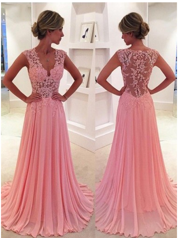 Gorgeous Pink Lace Long Sweetheart Cap Sleeve A-Line Beads Chiffon Prom Dresses JS12