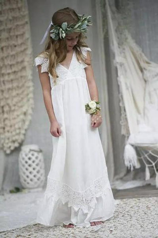 New Arrival Boho Flower Girl Dresses For Weddings Cheap V Neck Chiffon Lace Child Communion Formal Beach Wedding Dress Custom Made