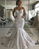 Sexy Mermaid Ivory Lace Appliques Backless Wedding Dresses Wedding Gowns W1011