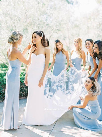 Elegant Sheath Halter Light Blue Satin Long Bridesmaid Dresses