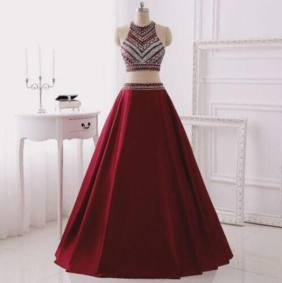 Two Piece Burgundy Glitter Halter Sleeveless Sparkly Prom Dresses For Teens SME142