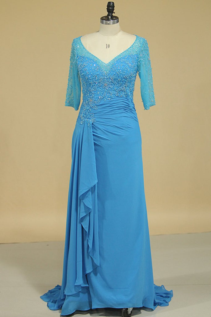 2020 Mid-Length Sleeves Chiffon Mother Of The Bride Dresses With Beads Royal Blue