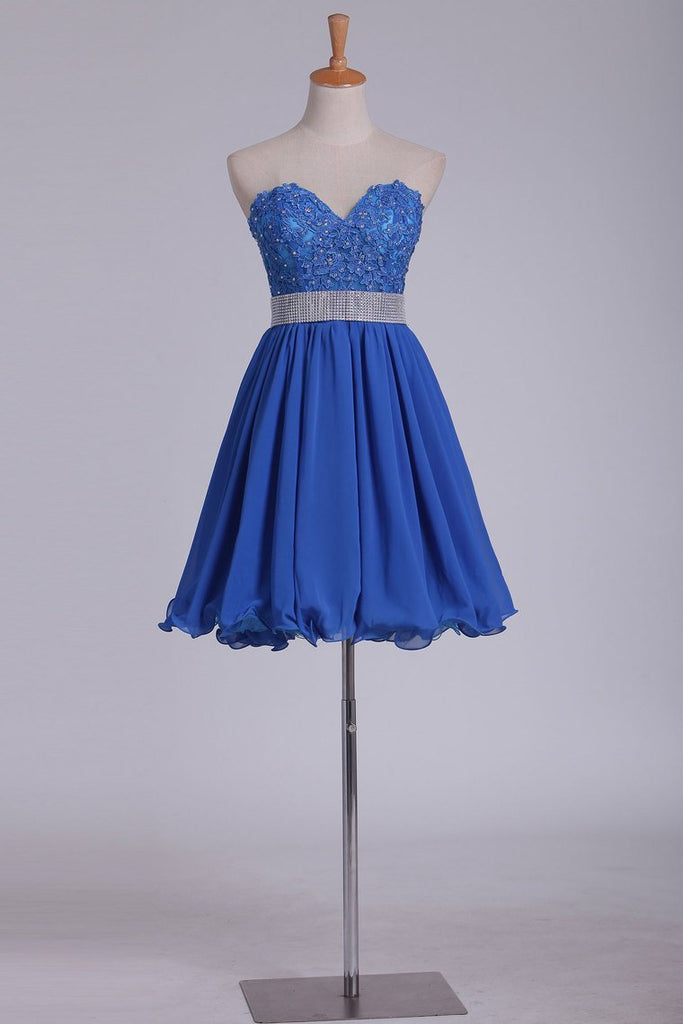 2021 Chiffon Short/Mini Sweetheart With Applique A Line Homecoming Dresses