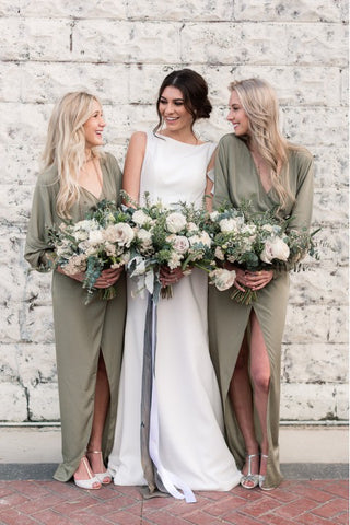 Minimalist V Neck Long Sleeves Floor Length With High Slit Bridesmaid Dresses
